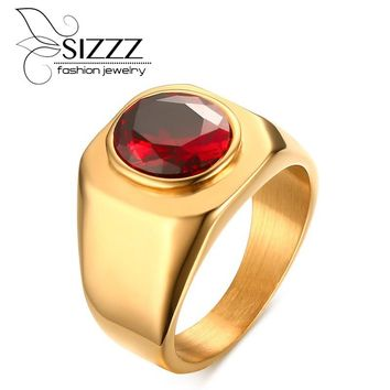 SIZZZ Men's Red Crystal Rings Surgical Steel Cool Gothic Rings for Men Engagement Party Jewelry