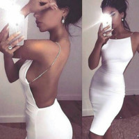 Cynthia Chain Strapped White Dress