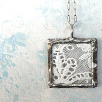 Antique French Lace Necklace. Oxidized Sterling Silver Chain. Lace Jewelry..Country Chic Jewelry