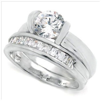 Sterling Silver 2 carat Round Cut Tension Set CZ and Princess Cut Channel Set Modern Wedding Ring Set size 5-9