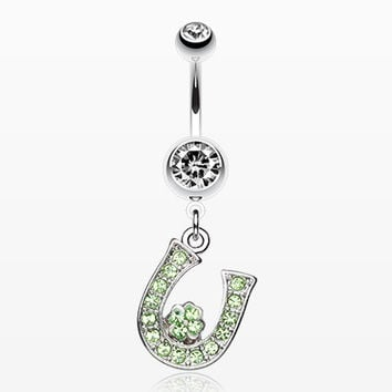 Jeweled Four Leaf Clover on Horseshoe Belly Ring