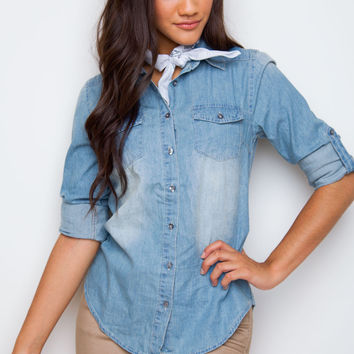 Sahara Denim Top - Medium Wash