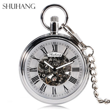 SHUHANG New Mechanic Watch 2017 Men Automatic Self Winding Pocket Watch Silver Simple Open Face Chain Pendant with Roman Number