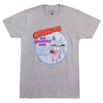 Courage The Cowardly Dog Logo Cartoon Network Licensed Adult T-Shirt - Gray - 3X
