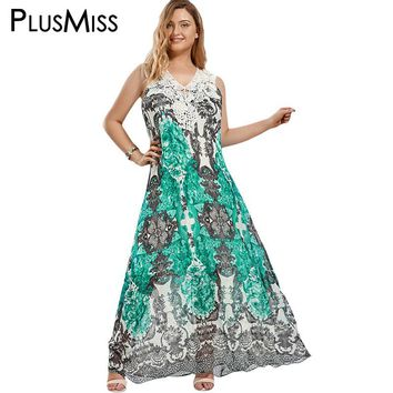 Plus Size 5XL Cap Sleeve Lace Crochet Floral Bohemia Maxi Long Dress Women Summer 2017 Boho Ethnic Print Beach Party Dress