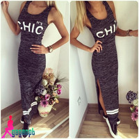 Women's Fashion Hot Sale Sleeveless Print Split Prom Dress One Piece Dress [6343425537]