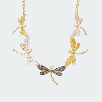 Breezy Dragonflies Necklace – Gold