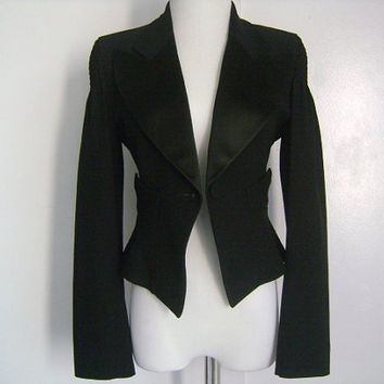 Vintage CHRISTIAN LACROIX Bazar Made in France Stylish Fashionable Ladies Black Tuxedo Jacket Blazer 1 Button 2 Pockets Satin Trim Size 38 S