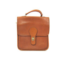 Brown Leather Purse Top Handle Satchel Tote Bag 90s Preppy Wilson's Leather Purse