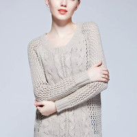 Khaki Twist Cutout Knitted Sweater