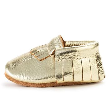 BIRDROCK BABY GOLD GENUINE LEATHER BABY MOCCASINS