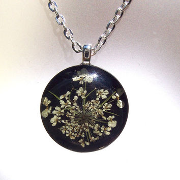 Real Queen Annes Lace Pressed Flower Round Black  Necklace