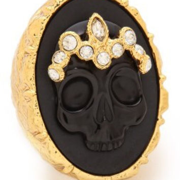 Alexis Bittar Black And Gold Skull Ring Size 7