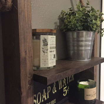 Rustic Ladder Shelf -  Wood and Rope Shelf - Farmhouse Decor - Cabin Furniture - Bathroom Medicine Cabinet Shelves - Shelf with Rope