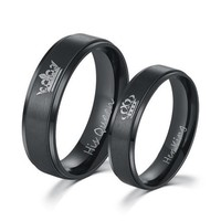 2019 Her King His Queen Crown Wedding Titanium Ring For Women Silver Black Rings For Men Engagement Ring Lover Couples Jewelry