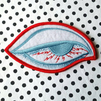 Vintage BloodShot Eye Embroidered Iron On Patch 4''X 2''
