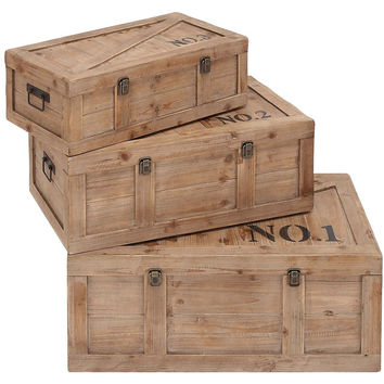Assorted Natural Wood Crate Trunks, Set of 3, Storage Baskets