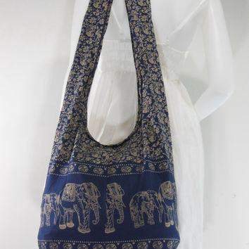 Midnightblue Cotton Printed Standing Elephants Cross body Shoulder Hippie Boho Hobo Messenger Bag E-EA08
