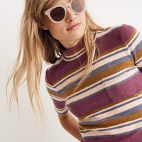 Mockneck Shirttail Tee in Stripe