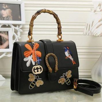 GKH3L Gucci' Women Fashion Personality Embroidery Bee Flower Bird Bamboo Festival Handbag Single Shoulder Messenger Bag