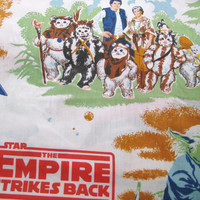 RARE Vintage 1983 Star Wars Return Of The Jedi Empire Strikes Back TWIN Size Flat Sheet Kids Bedding Craft Fabric Clean Used Made in Canada