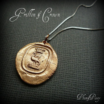 Griffon Wax Seal Necklace in Bronze by PlumAndPoseyInc on Etsy