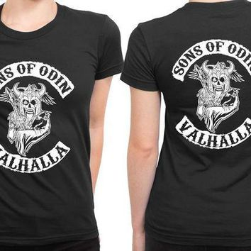 ESBH9S Marvel Sons Of Odin Valhalla 2 Sided Womens T Shirt
