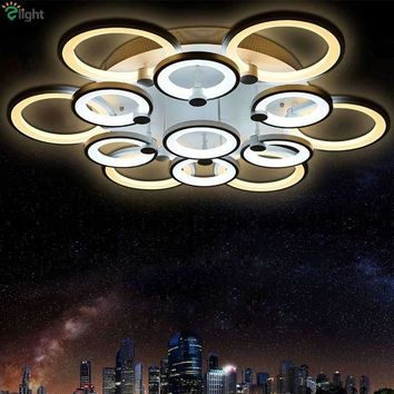 Modern Brief Acrylic Shades Dimmable Led Chandelier By Remote Control Foyer Bedroom Round Metal Rings Ceiling Chandelier