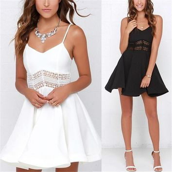 Women Sexy Strap V Neck Crochet Lace Waist Skater Party Mini Short Dresses