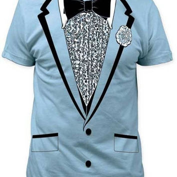 Blue Tuxedo Tux Retro Prom Ruffled Mens Shirt