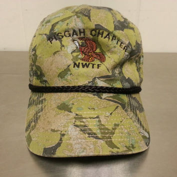 Vintage 80's Pisgah Chapter NWTF Snapback Dad Hat National Wild Turkey Foundation Camo Camouflage Hunting Cap
