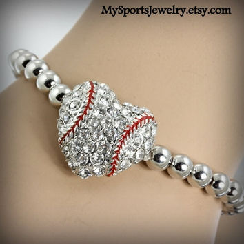 Baseball Rhinestone Heart Stretch Bracelet