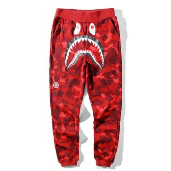 Bape Aape Fashion New Tiger Shark Print Camouflage Women Men Leisure Trousers Pants Red