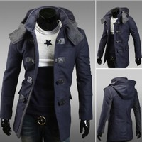 Korean fashion Men Slim fit casual woolen trench warm Autumn Jacket 9198