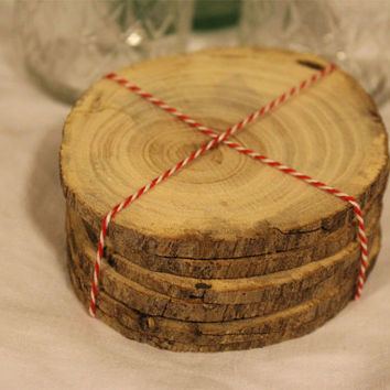 Wood Coasters- Set of 6- Wooden- Wedding Decoration- Lodge- Rustic- Natural Wood- Round- Log Coaster