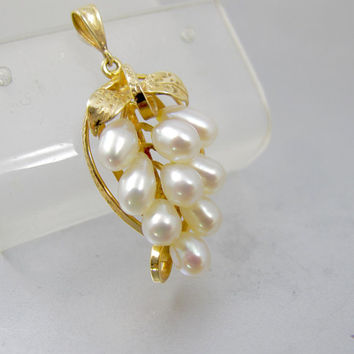 Ming's Of Honolulu Pearl Pendant. 14K Yellow Gold Cultured Pearl Grape Cluster Pendant.