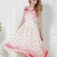 Kawaii Lolita Red Polka Dots High Waist Tank Chiffon Dress - S M L XL from Tobi's Finds