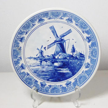 "Cobalt Blue and White Delft Blauw Handpainted Made in Holland Hand Painted 6 7/8"" Round Windmill Scene Vintage"