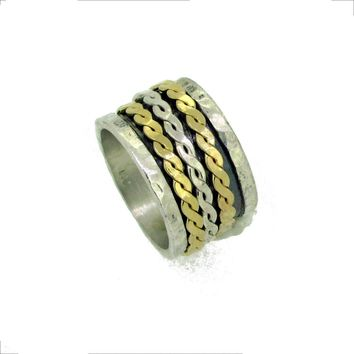 Silver and Gold Braid Meditation Ring