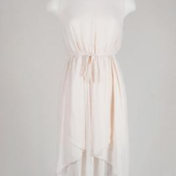 Willow Breeze Waterfall Sleeveless Chiffon Dress in Cream | Sincerely Sweet Boutique