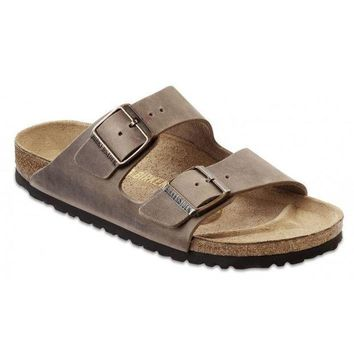LMFGE2 Beauty Ticks Birkenstock Classic Arizona Regular Fit Natural Leather Tobacco Br