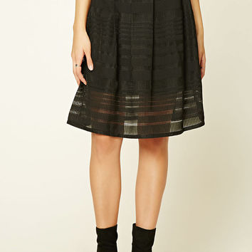 Pleated Mesh-Paneled Skirt