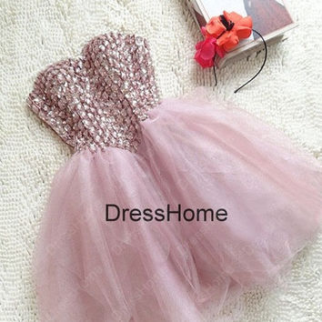 Short Prom Dress - Pink Prom Dress / Pink Homecoming Dress / Cheap Homecoming Dress / Evening Dress / Pink Evening Dress