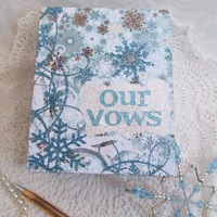 Wedding Vow Book Set - Winter Wedding- Blue- Brown - Snowflakes with Matching Keepsake Box