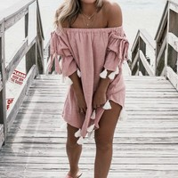 Come Back Pink Tassel Linen Coverup Dress