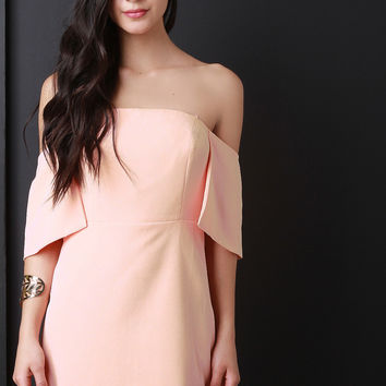 Off-The-Shoulder Half Cape Sheath Dress