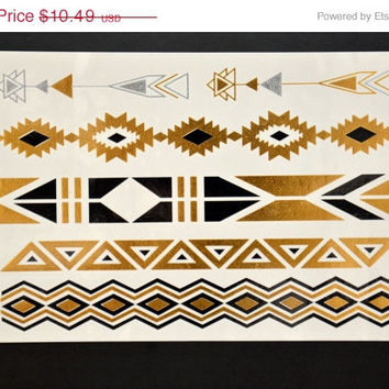 SALE! Metallic Gold Black and Silver Temporary Tattoo Jewelry - Flash Tattoo - Easy Application Jewelry Body Ink Art Bracelet Armband
