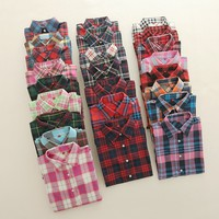 Women Shirt Blouses Plus Size 2017 Hot New Spring Flannel Cotton Long Sleeve Plaid Shirt Casual Female Loose College Style Tops
