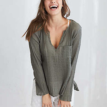 Aerie Crinkle Top , Camo Green