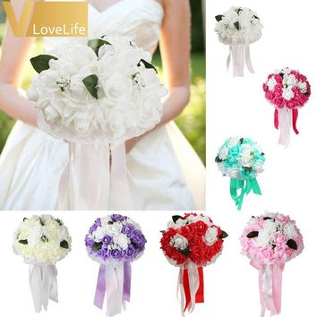 Fashion Many Colors Artificial Silk Flowers Bouquet Foam Roses Wedding Bouquet Bridal Bouquet Lace Decoration Natural Pearls Wed